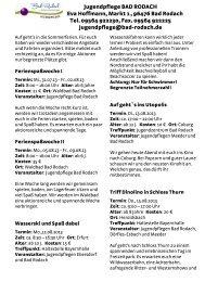 Jugendpflege BAD RODACH Eva Hoffmann, Markt 1 , 96476 ... - KoJa
