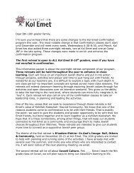 Family Letter Introduction - Congregation Kol Emet