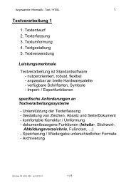Textverarbeitung 1 - Hochschule Anhalt