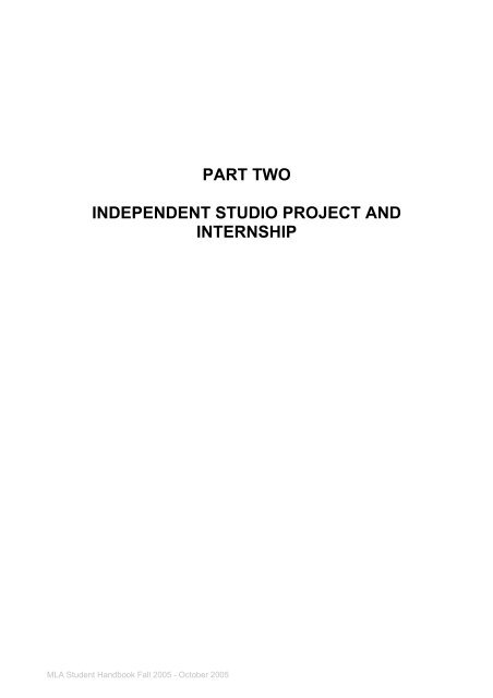 part two independent studio project and internship - Hochschule ...
