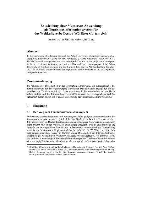 Touristisches Informationssystem für das Gartenreich Dessau-Wörlitz