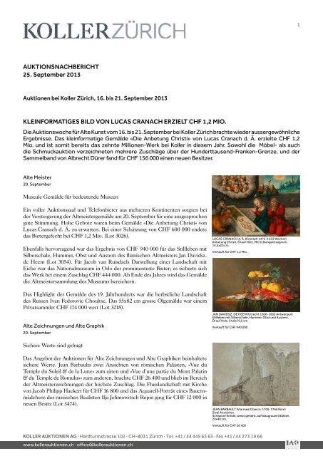 AUKTIONSNACHBERICHT 25. September 2013 ... - Koller Auktionen