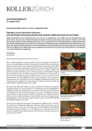 AUKTIONSVORBERICHT 21. August 2013 ... - Koller Auktionen