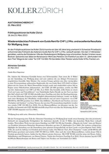 Pressebericht (PDF) - Koller Auktionen