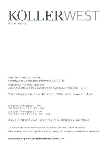Dienstag, 7. Mai 2013, 14 Uhr Himalaya und China - Koller Auktionen