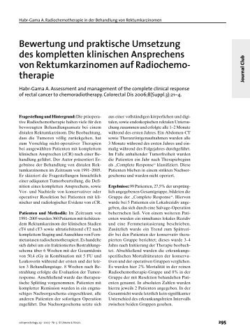 Bewertung und praktische Umsetzung des kompletten klinischen ...