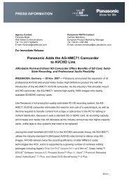 Panasonic Adds the AG-HMC71 Camcorder to AVCHD Line - Adcom