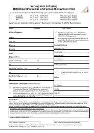 Vertrag zum Lehrgang Betriebswirt/in Sozial- und Gesundheitswesen
