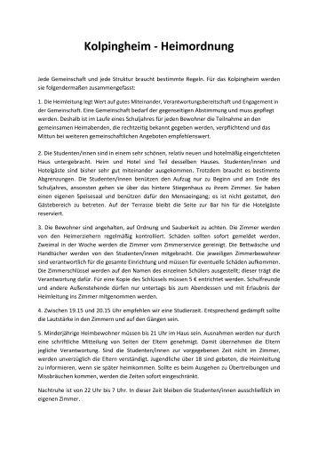 Kolpingheim - Heimordnung