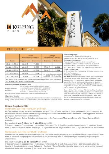 PREISLISTE 2014 - Kolpinghaus Meran