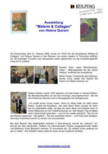 """""""Malerei & Collagen"""" von Helene Quiram - Kolpingsfamilie Vorst"""