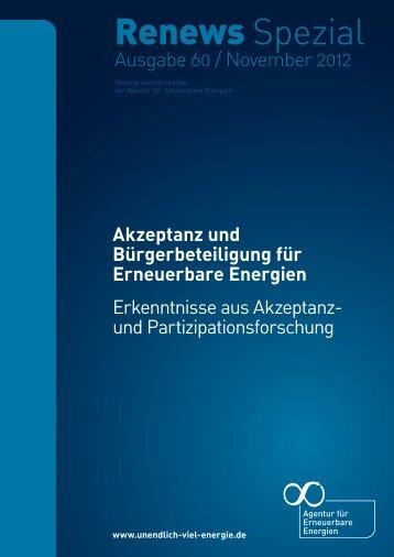 """Renews Spezial """"Akzeptanz Erneuerbarer Energien"""" - Agentur für ..."""