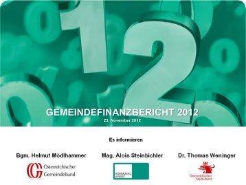 Präsentation des Gemeindefinanzberichtes 2012 - Österreichischer ...