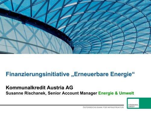 Susanne Rischanek, Kommunalkredit / Erneuerbare Energie