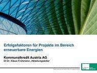 Dr. Klaus Frühmann, Kommunalkredit / Erfolgsfaktoren für Projekte ...