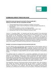 KOMMUNALKREDIT PRESS RELEASE - Kommunalkredit Austria AG