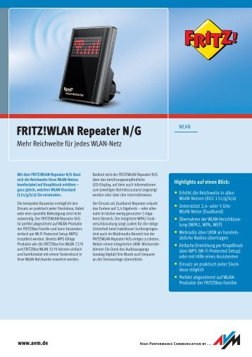 FRITZ!WLAN Repeater N/G - CT Computer GmbH