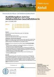 Programm ÖWAV Ausbildungskurs zum ... - Kommunalnet