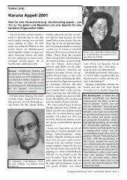 Karuna-Appell 2001 - Bericht aus England von ... - Komm und sieh