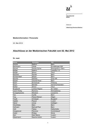 Liste der Abschlüsse Medizinische Fakultät (pdf, 77KB) - Abteilung ...