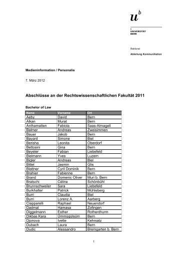 Liste der Abschlüsse RW-Fakultät (pdf, 167KB) - Abteilung ...
