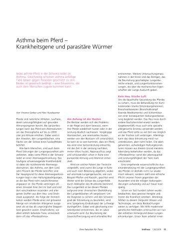 Asthma beim Pferd - Abteilung Kommunikation - Universität Bern
