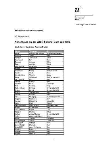 Abschlüsse an der WISO Fakultät vom Juli 2005 - Abteilung ...