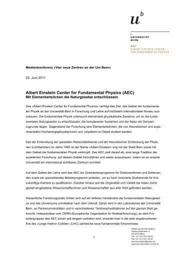 Factsheet AEC - Abteilung Kommunikation - Universität Bern