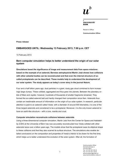 EMBARGOED UNTIL: Wednesday 13 February ... - Universität Bern