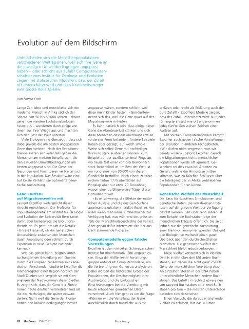 Evolution auf dem Bildschirm - Abteilung Kommunikation