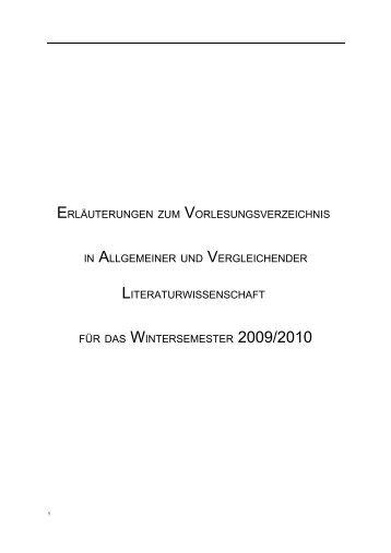 Vorlesungsverzeichnis Wintersemester 2009/10 - Institut für ...