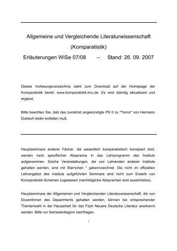 Wintersemester 2007/2008 - Institut für Allgemeine und ...