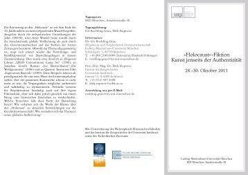 """""""Holocaust""""-Fiktion - Institut für Allgemeine und Vergleichende ..."""