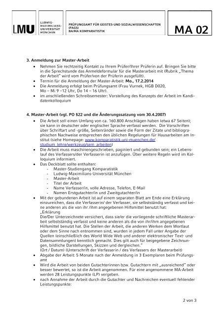 Informationen zur Master-Arbeit und mündlichen Abschlussprüfung
