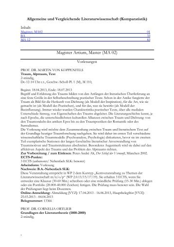 Kommentiertes Vorlesungsverzeichnis Sommersemester 2013 (PDF ...