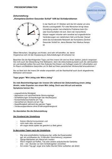 """PRESSEINFORMATION Zeitumstellung: """"Kompetenz-Zentren ..."""