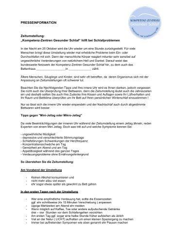 Zeitumstellung Ok 2009 - Kompetenz-Zentren Gesunder Schlaf