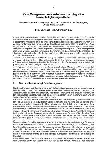 Case Management ein Instrument zur Integration benachteiligter ...