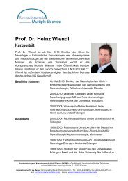Prof. Dr. Heinz Wiendl Kurzporträt - Kompetenznetz Parkinson