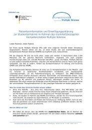 Patienteninformation und Einwilligungserklärung - Kompetenznetz ...