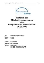 Protokoll der Mitgliederversammlung des Kompetenznetz Parkinson ...