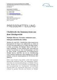 PRESSEMITTEILUNG - Kompetenznetz Parkinson