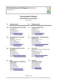 Liste anerkannter Prüflabore RAL-Gütesicherung