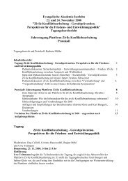 Protokoll Jahrestreffen 2000 - Plattform Zivile Konfliktbearbeitung