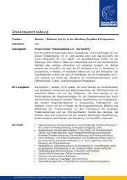 Stellenausschreibung - Plattform Zivile Konfliktbearbeitung