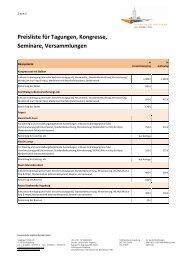 Preise Tagungen & Kongresse - Kongress am Park - Augsburg
