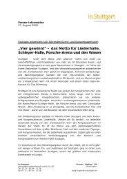 """""""Vier gewinnt"""" – das Motto für Liederhalle, Schleyer-Halle, Porsche ..."""
