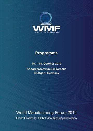 Programme World Manufacturing Forum 2012 - Kongresszentrum ...