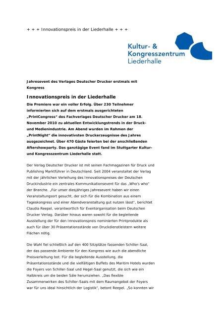 Innovationspreis in der Liederhalle - Kongresszentrum Stuttgart