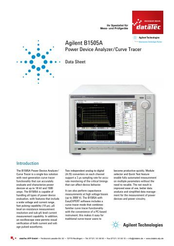 Agilent B1505A Power Device Analyzer - datatec Gmbh